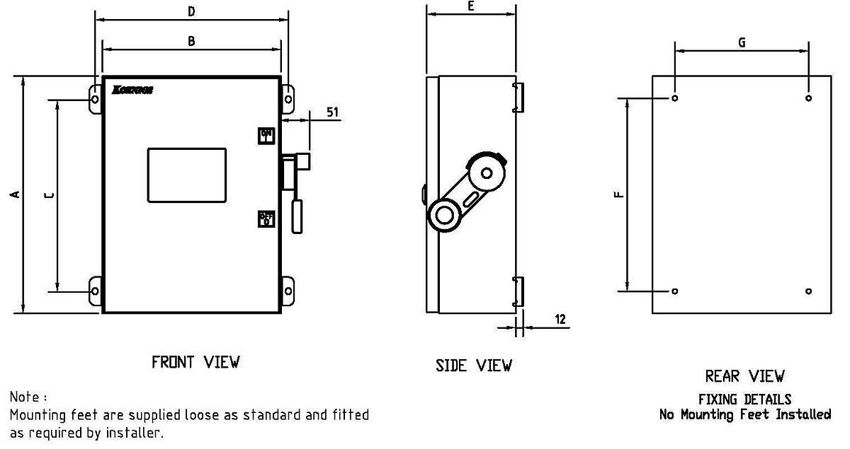 koenigs std series enclosure dimensions